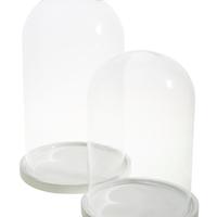 Globe Sur Socle Bois Blanc H 30 Cm D 19 Cm